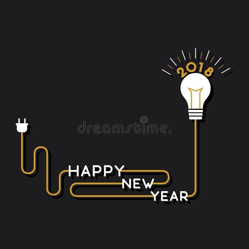 Het creatieve gelukkige nieuwe ontwerp die van de jaar 2018 affiche borstel gebruiken stock illustratie