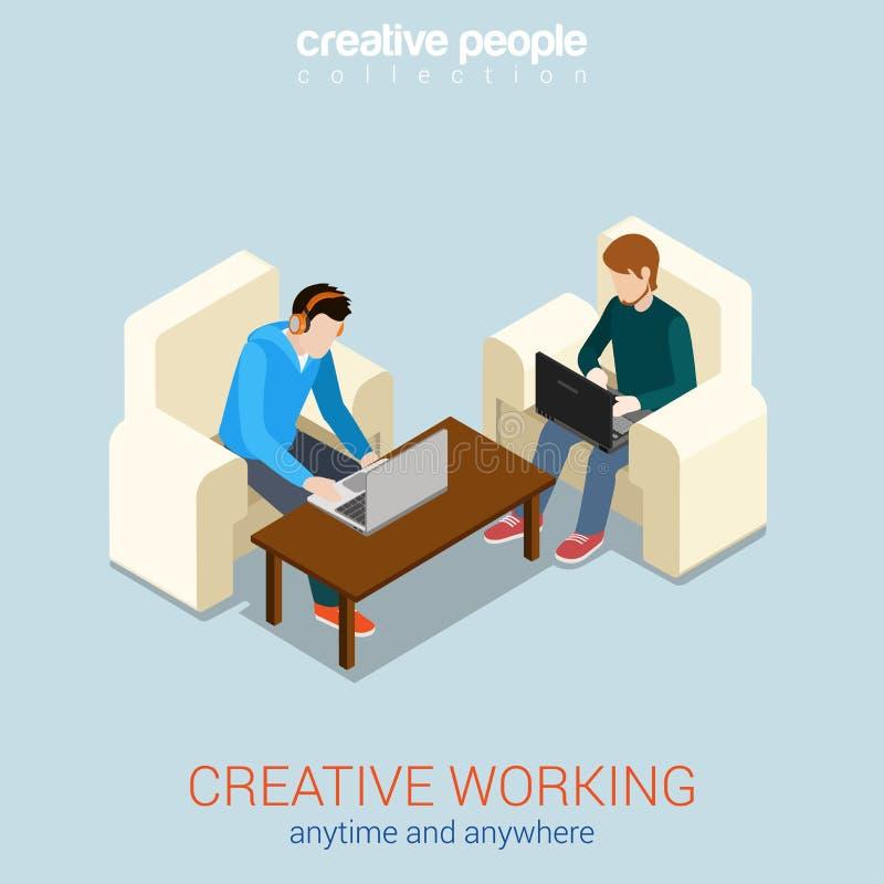 Het creatieve isometrische concept van het het werk op om het even welk ogenblik overal vlakke 3d Web stock illustratie