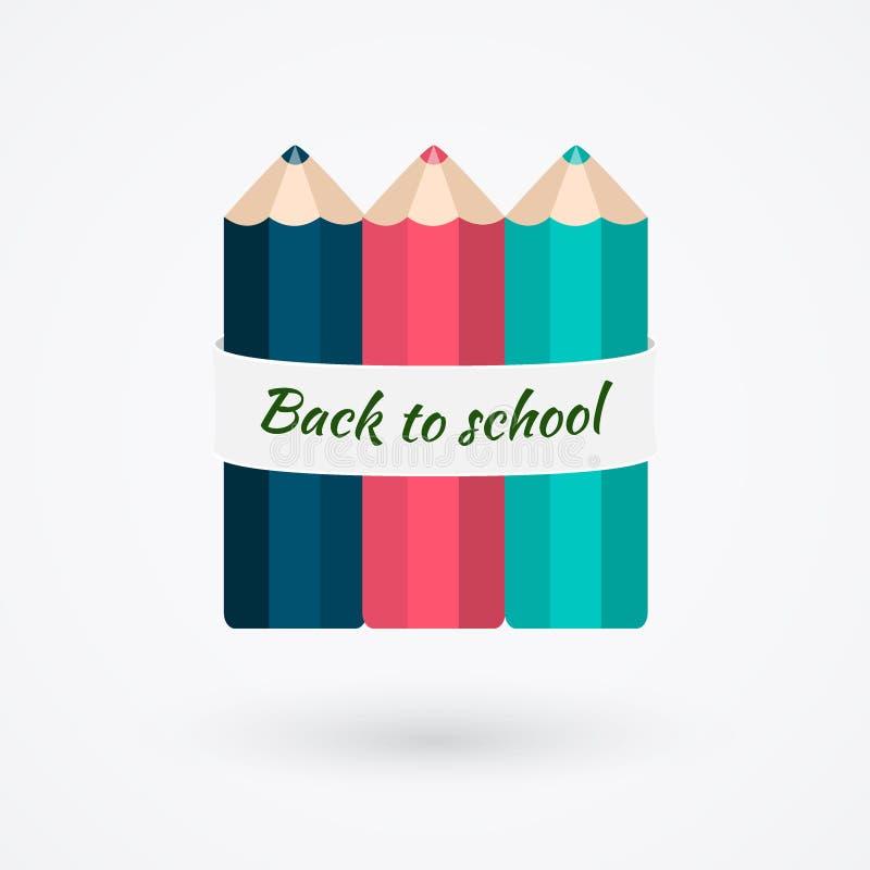 Het creatieve malplaatje met de banner van het kleurenpotlood, kan voor informatie worden gebruikt vector illustratie