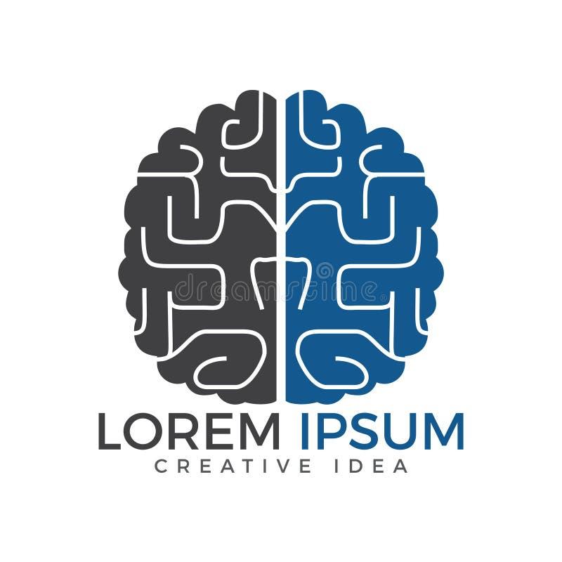Het creatieve ontwerp van het hersenenembleem Denk Ideeconcept stock illustratie