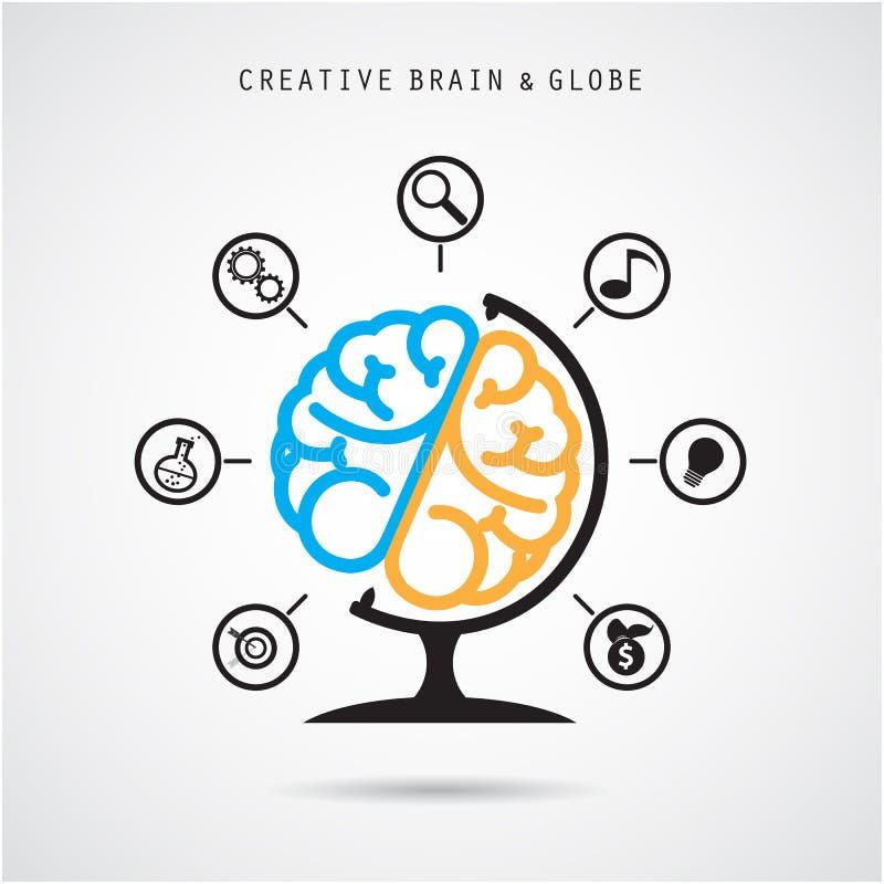 Het creatieve ontwerp van het hersenen abstracte vectorembleem en infographicstemperaturen royalty-vrije illustratie