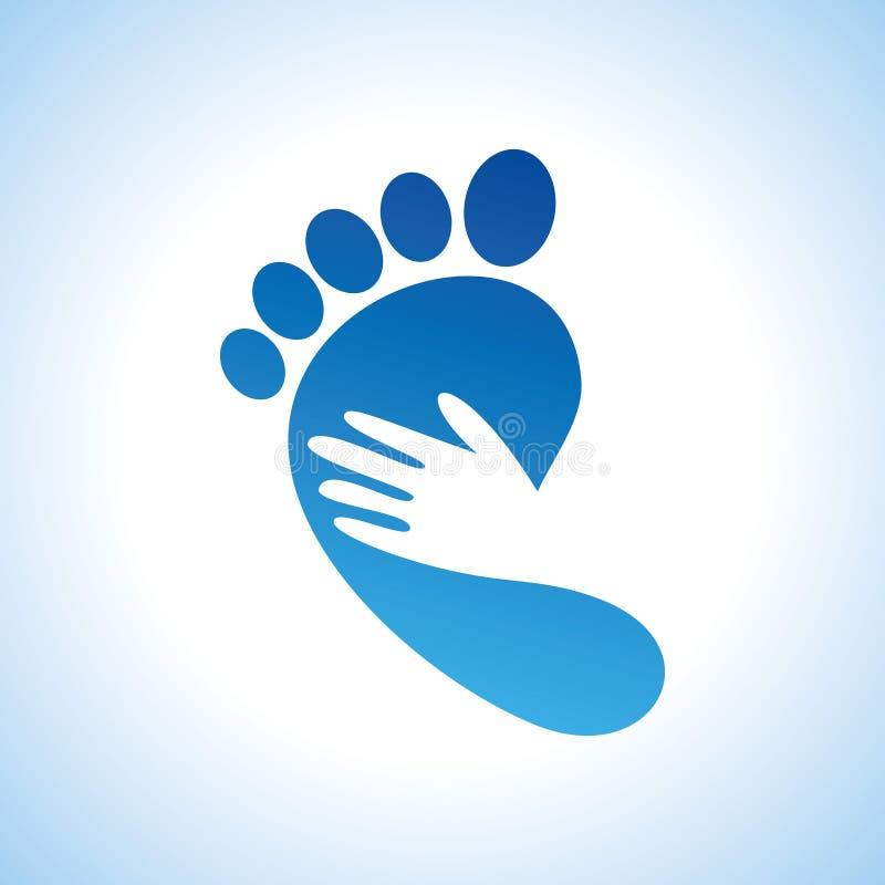 Het creatieve pictogram van de voetzorg met palm royalty-vrije illustratie