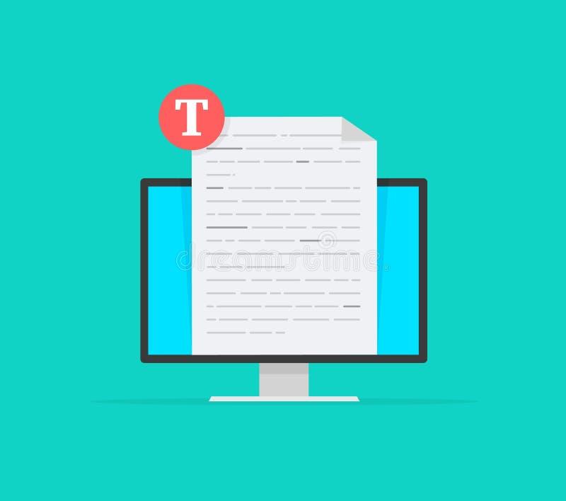 Het creatieve schrijven of online onderwijs, het storytelling, copywriting concept, het uitgeven tekstdocument, het verre leren stock illustratie