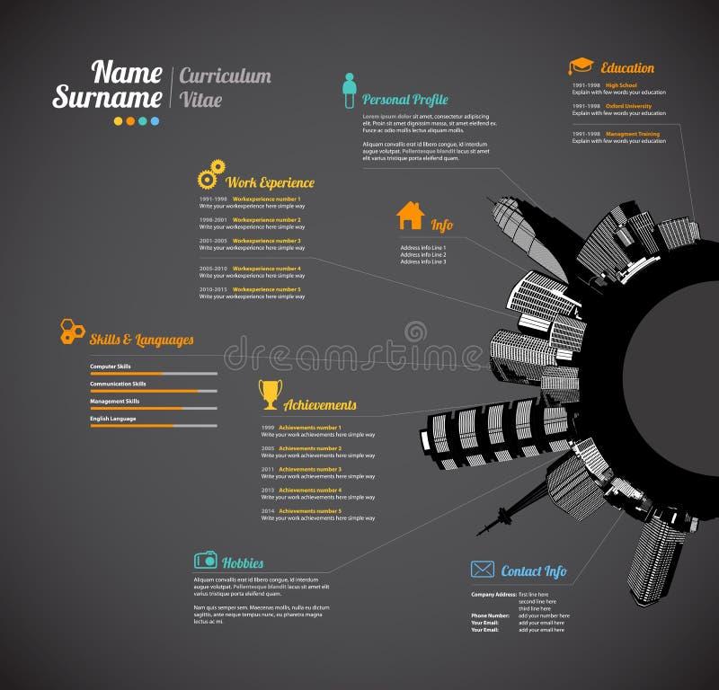 Het creatieve stedelijke Curriculum vitae hervat malplaatje stock illustratie