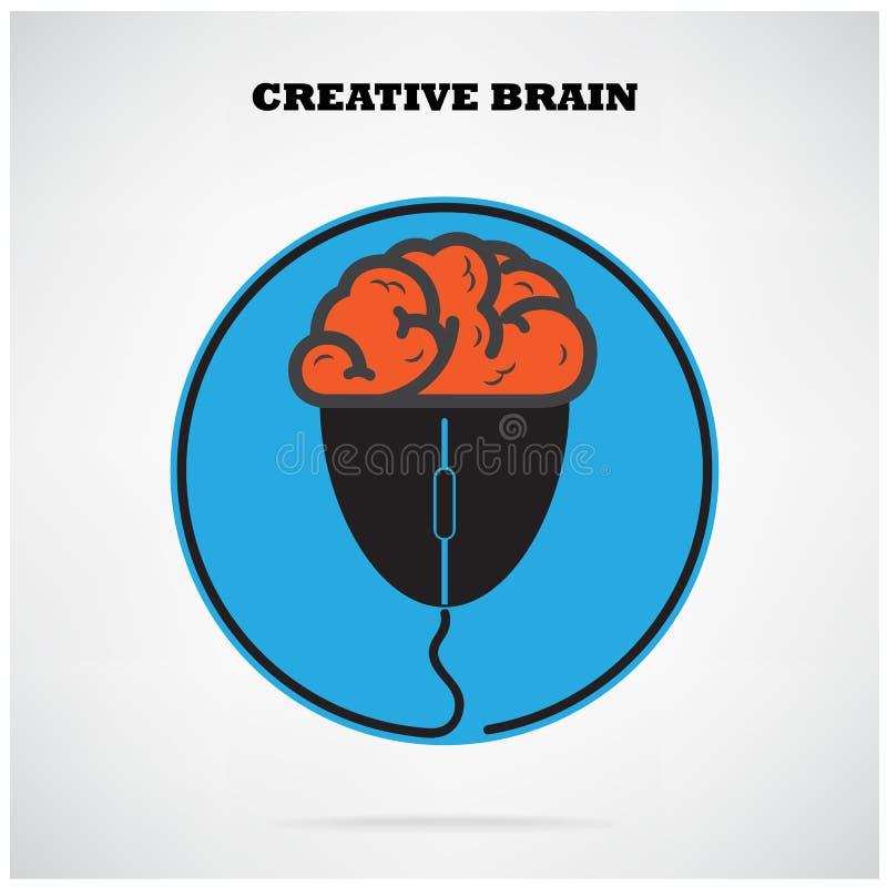 Het creatieve symbool van Brian met het teken van de computermuis, bedrijfs e-n idee, vector illustratie