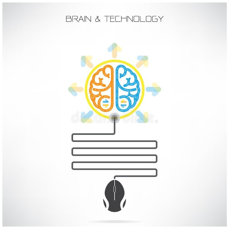 Het creatieve symbool van Brian met het teken van de computermuis op achtergrond vector illustratie