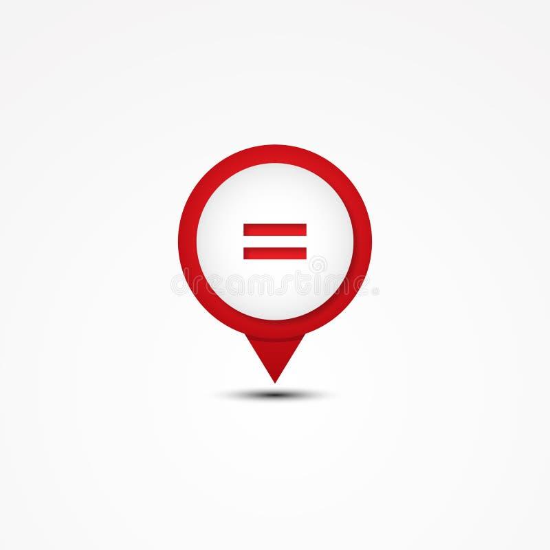 Het creatieve symbool van de combinatie gelijke wiskunde en kaartwijzer vector illustratie
