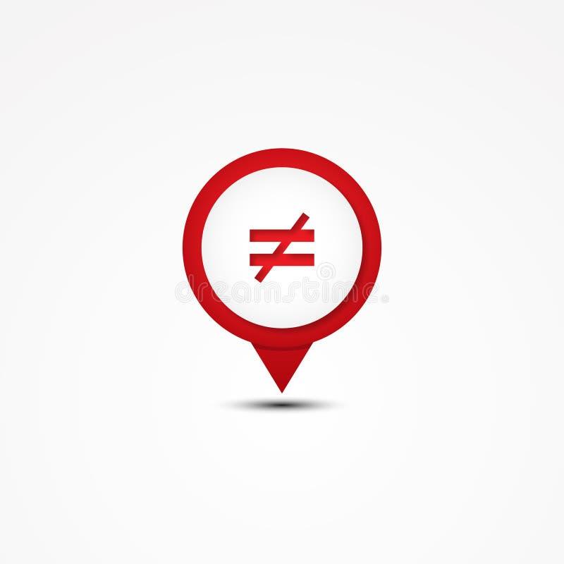 Het creatieve symbool van de combinatie niet gelijke wiskunde en kaartwijzer stock illustratie