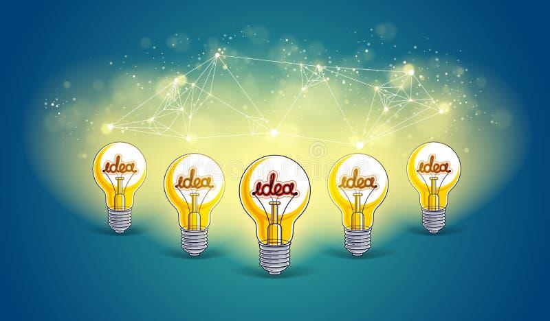 Het creatieve teamconcept, groep van vijf glanzende gloeilampen vertegenwoordigt idee van creatief mensengroepswerk die ideeën he stock illustratie
