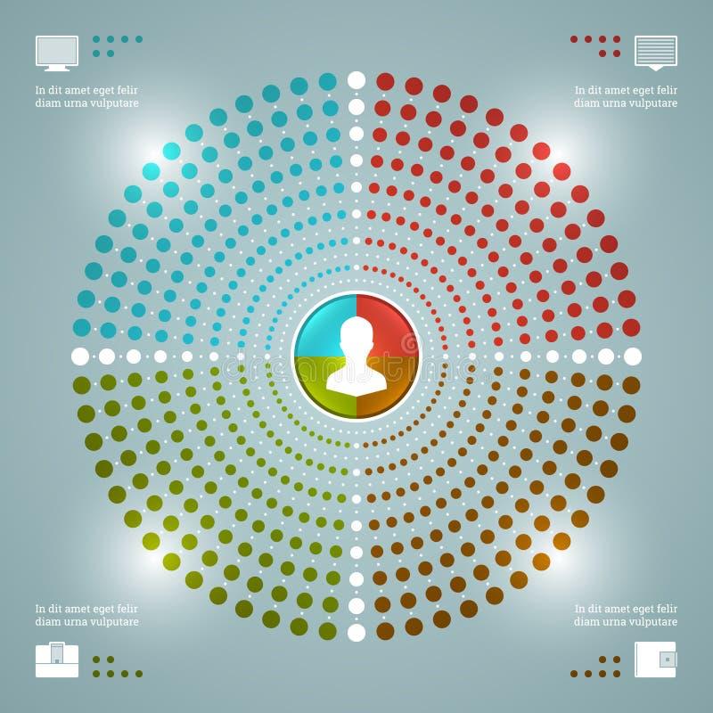 Het creatieve Vectormalplaatje van Infographics. Gestippeld Cirkeldiagrammendiagram. Het vectoreps10-Ontwerp van de Conceptenillus stock illustratie