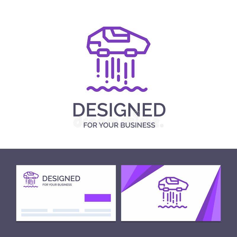 Het creatieve Visitekaartje en Embleemmalplaatje hangt Persoonlijke auto, Auto, Technologie Vectorillustratie royalty-vrije illustratie