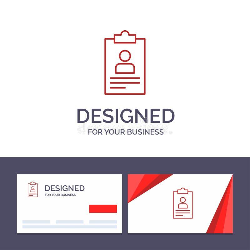Het creatieve Visitekaartje en Embleemmalplaatje hervat, Toepassing, Klembord, Leerplan, de Vectorillustratie van Cv vector illustratie