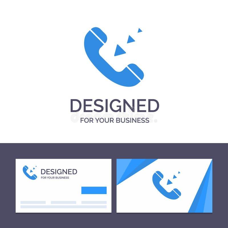 Het creatieve Visitekaartje en Embleemmalplaatje roept, Mededeling, Inkomend, Telefoon Vectorillustratie royalty-vrije illustratie
