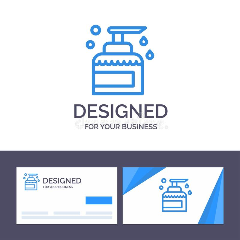 Het creatieve Visitekaartje en Embleemmalplaatje Schoonmaken, Huis, het Houden, Product, bespuit Vectorillustratie royalty-vrije illustratie