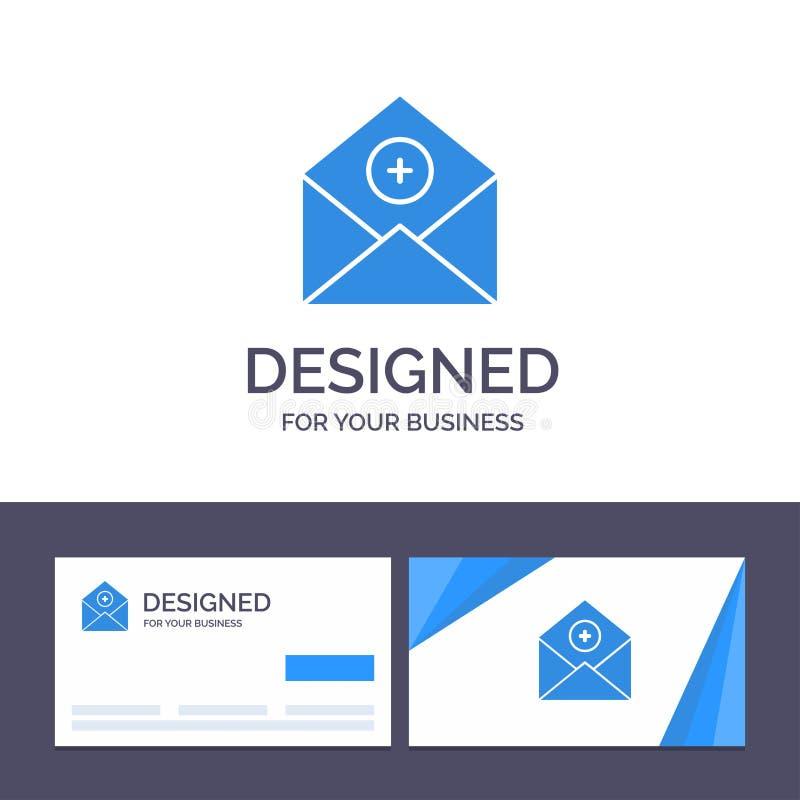 Het creatieve Visitekaartje en Embleemmalplaatje voegt, toe:voegen-Post, Mededeling, E-mail, post Vectorillustratie toe royalty-vrije illustratie