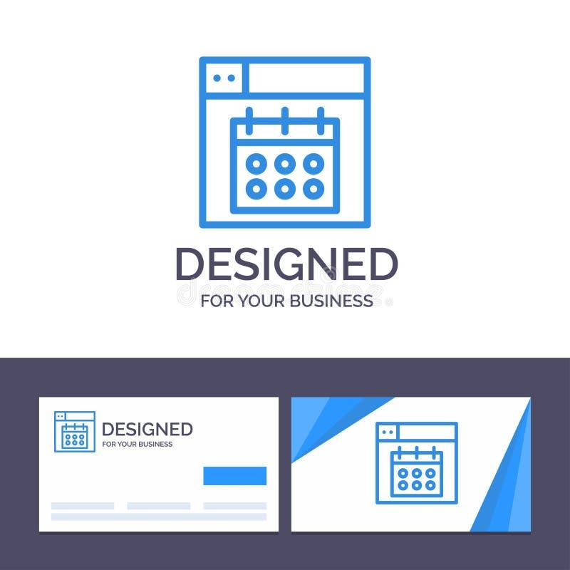 Het creatieve Visitekaartje en Embleemmalplaatjeweb, Ontwerp, Kalender, dateert Vectorillustratie royalty-vrije illustratie