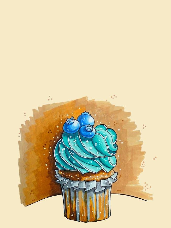 Het culinaire Werk Cupcake, heerlijke cake Bosbessenaroma stock illustratie