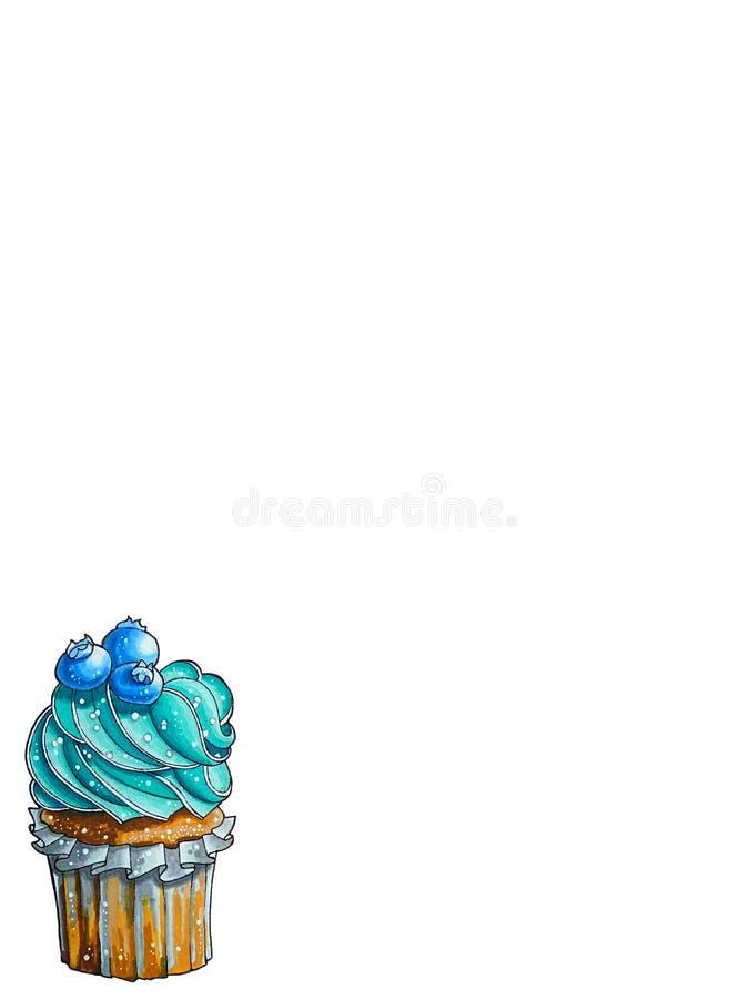 Het culinaire Werk Cupcake, heerlijke cake Bosbessenaroma vector illustratie