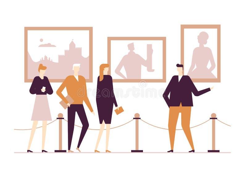 Het culturele leven - de vlakke kleurrijke illustratie van de ontwerpstijl royalty-vrije illustratie