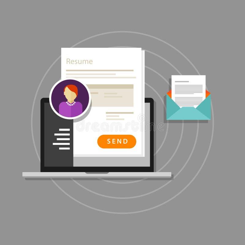 Het curriculum vitae cv hervat de administratie van de werknemersrekrutering online verzendt stock illustratie