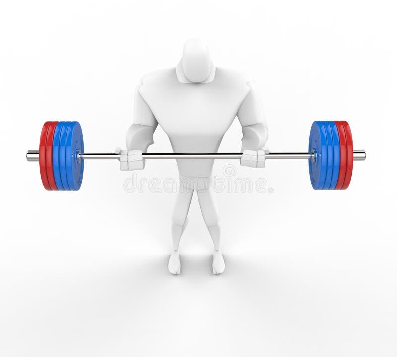het 3D bodybuilder praktizeren die barbell krullen bevinden zich royalty-vrije illustratie