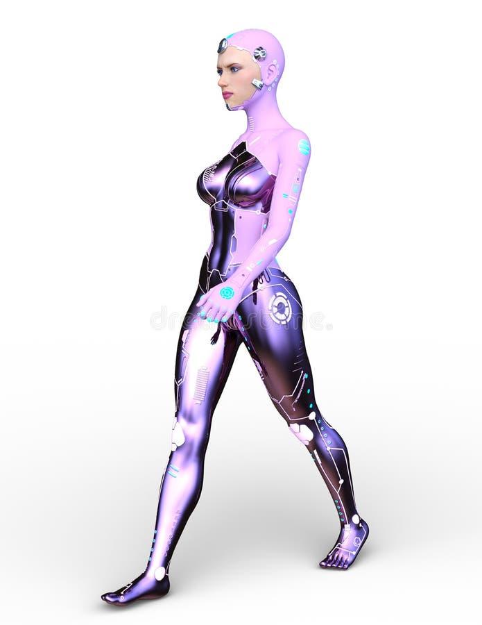 het 3D CG-teruggeven van cybervrouw vector illustratie