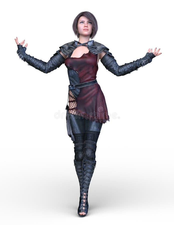 het 3D CG-teruggeven van heldin royalty-vrije illustratie
