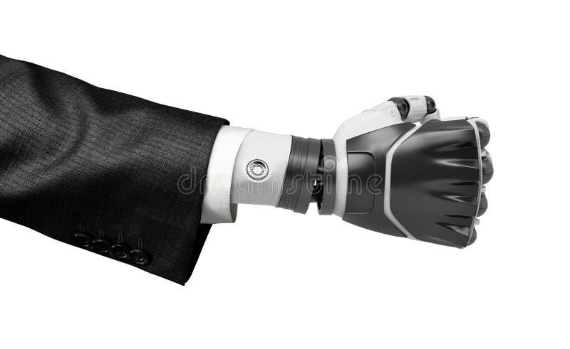 het 3d close-up teruggeven die van de dichtgeklemde vuist van de zwart-witte robot, kostuum dragen dat op witte achtergrond wordt royalty-vrije stock foto's