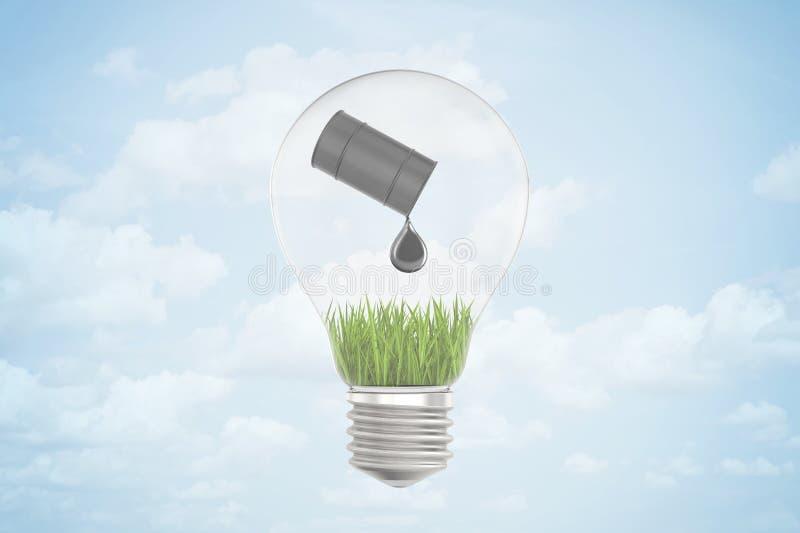 het 3d close-up teruggeven van elektrische bol met zwart getipt olievat en het morsen van oliedaling op groen gras, allen binnen stock illustratie