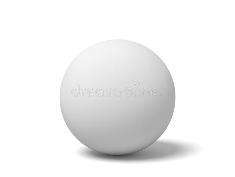 het 3d close-up teruggeven van witte pingpongbal op witte achtergrond royalty-vrije illustratie