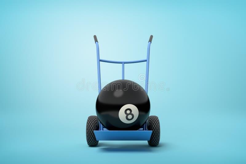 het 3d close-up teruggeven van zwarte kegelenbal op blauwe handvrachtwagen op lichtblauwe achtergrond royalty-vrije stock foto