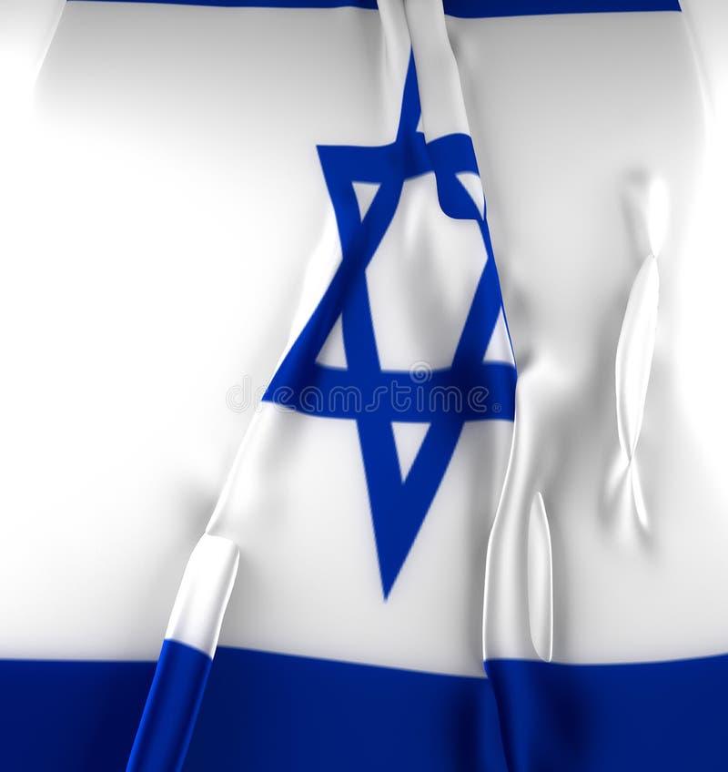 het 3D illustratie teruggeven De Vlag van Israël Golvende stoffen hoog gedetailleerd textuur stock illustratie