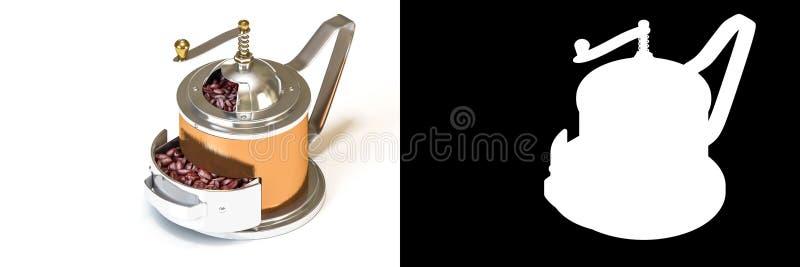 het 3D isometrische teruggeven van messings uitstekende koffiemolen met coff royalty-vrije illustratie