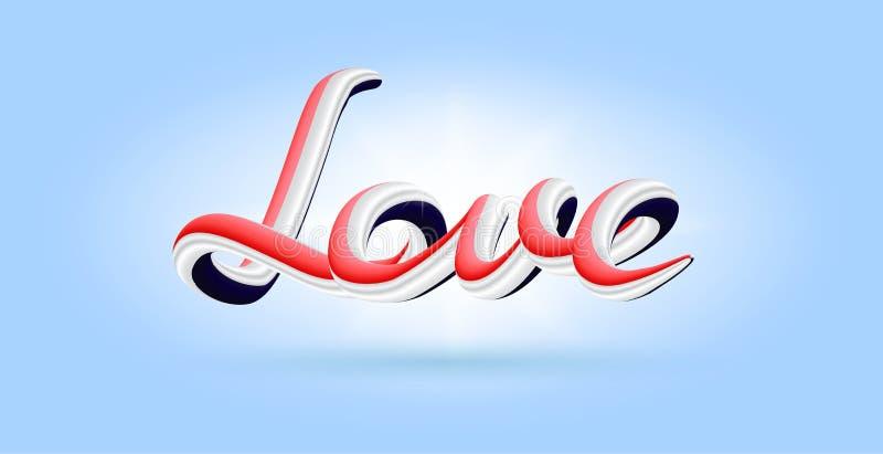 het 3D Liefde abstracte artistieke van letters voorzien, vector royalty-vrije illustratie