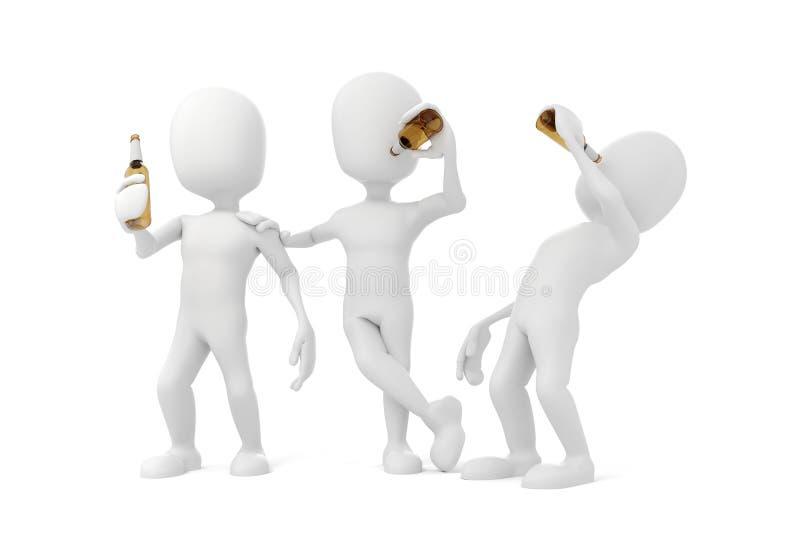 het 3d mens drinken stock illustratie