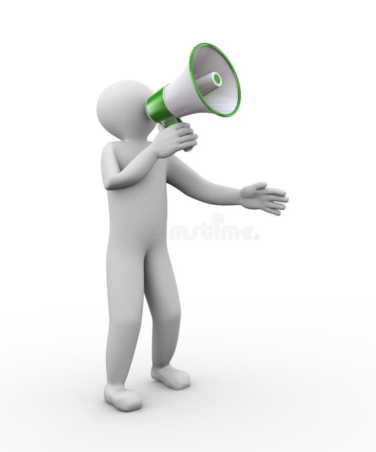 het 3d mensenmegphone schreeuwen royalty-vrije illustratie