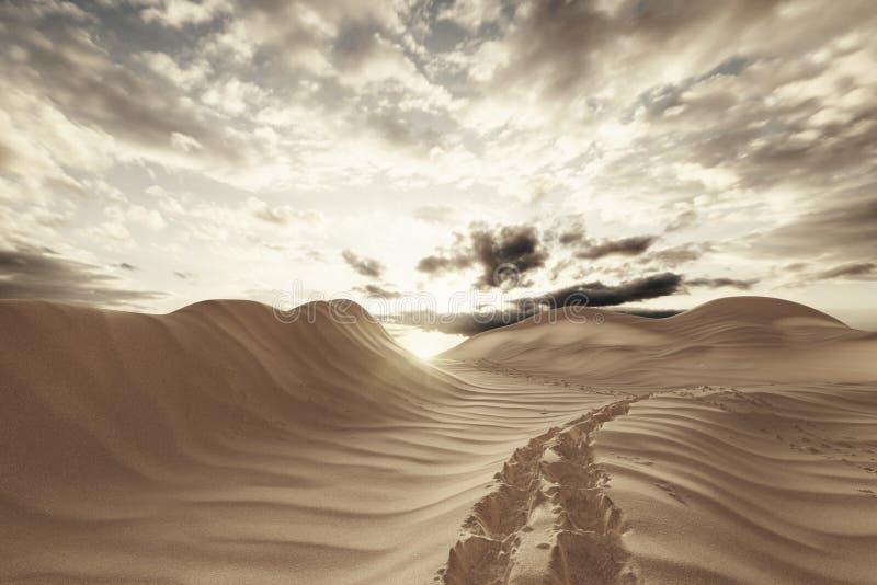 het 3d remdering van woestijnlandschap met voetstappen stock afbeelding
