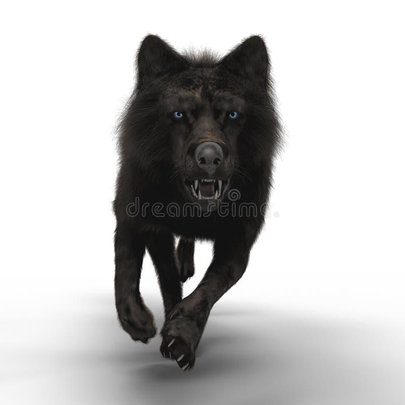 het 3D Snauwen Wolf Running royalty-vrije illustratie