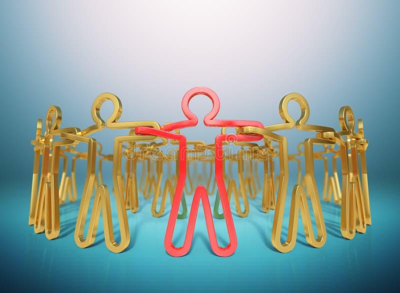 het 3D teruggeven, Cirkel van rode en gouden mensen die zich samen bij empowerin aansluiten royalty-vrije illustratie