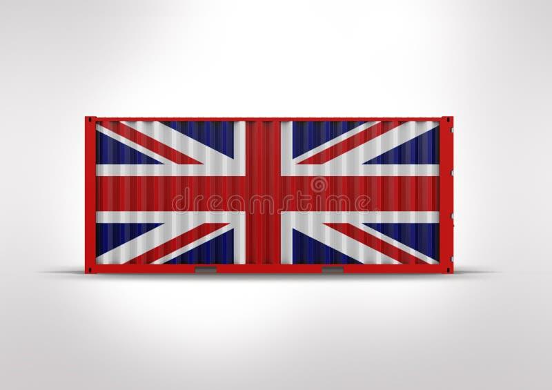 het 3D teruggeven, container de vlag van Groot-Brittannië royalty-vrije stock fotografie