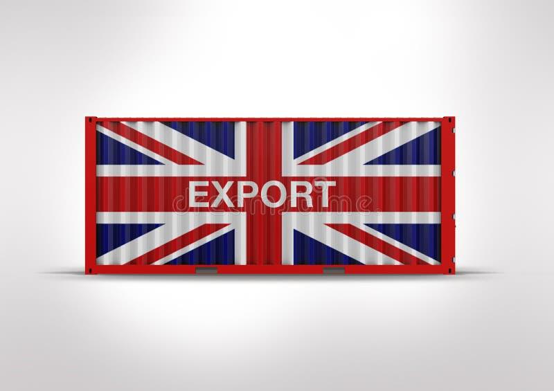 het 3D teruggeven, containervlag Britten royalty-vrije stock fotografie