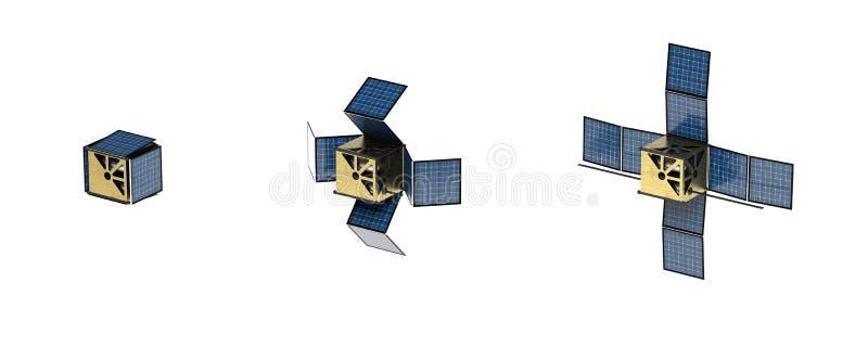 het 3D teruggeven CubeSat met zonnepanelen vector illustratie