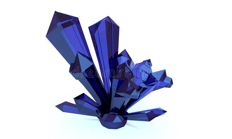 het 3d teruggeven 3D Illustratie Helder blauw saffier transparant kristal, gem Druze royalty-vrije illustratie
