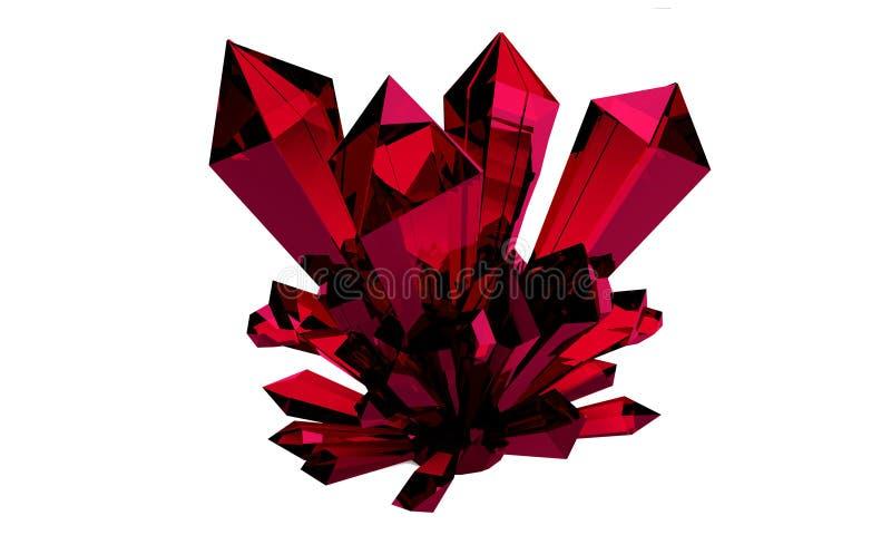 het 3d teruggeven 3D Illustratie Helder rood robijnrood transparant kristal, gem Druze De breking van stralen in het kristal royalty-vrije illustratie