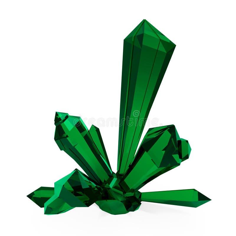 het 3d teruggeven 3D Illustratie Heldergroen smaragdgroen transparant kristal, gem Druze De breking van stralen in het kristal royalty-vrije illustratie