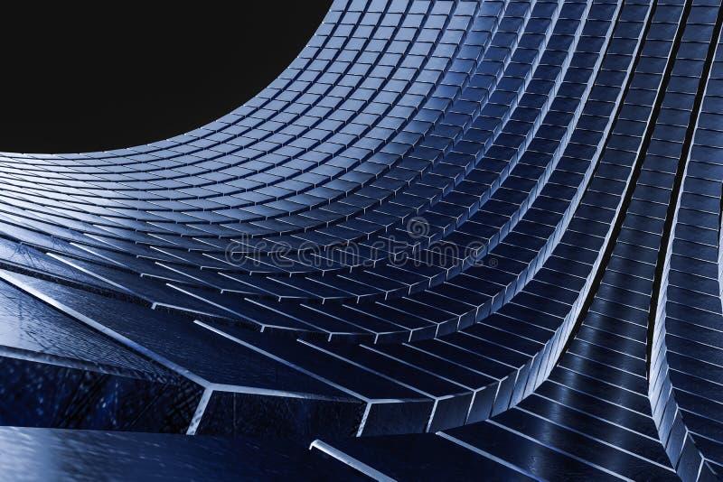 het 3d teruggeven, de abstracte achtergrond van kubusbakstenen, donkere achtergrond royalty-vrije illustratie