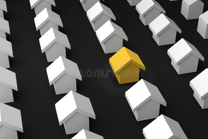 het 3d teruggeven: de illustratie van kiest uw beste huis uw huis zoek vector illustratie