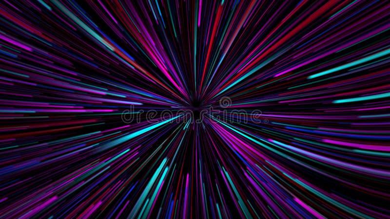 het 3D teruggeven, de science fictionachtergrond van gloeiende deeltjes met diepte en bokeh voeren en vierkante deeltjes, roze go royalty-vrije illustratie