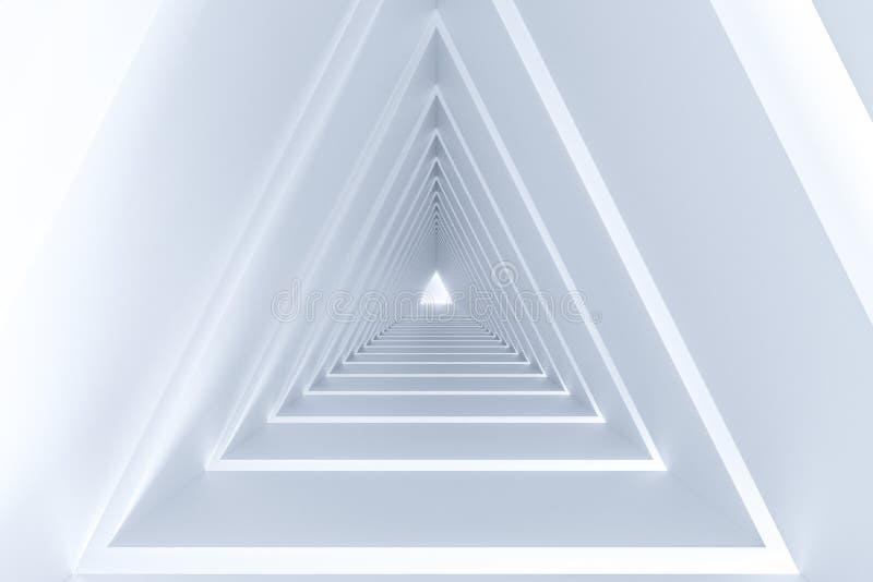 het 3d teruggeven, driehoekstunnel met gloeiende lijnenachtergrond stock illustratie