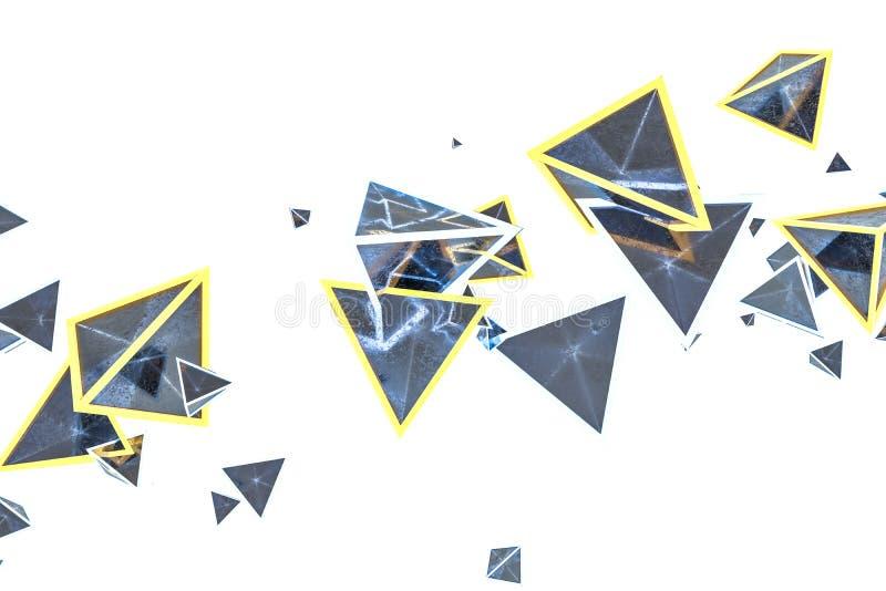 het 3d teruggeven, gloeiende driehoekskubus met donkere achtergrond vector illustratie